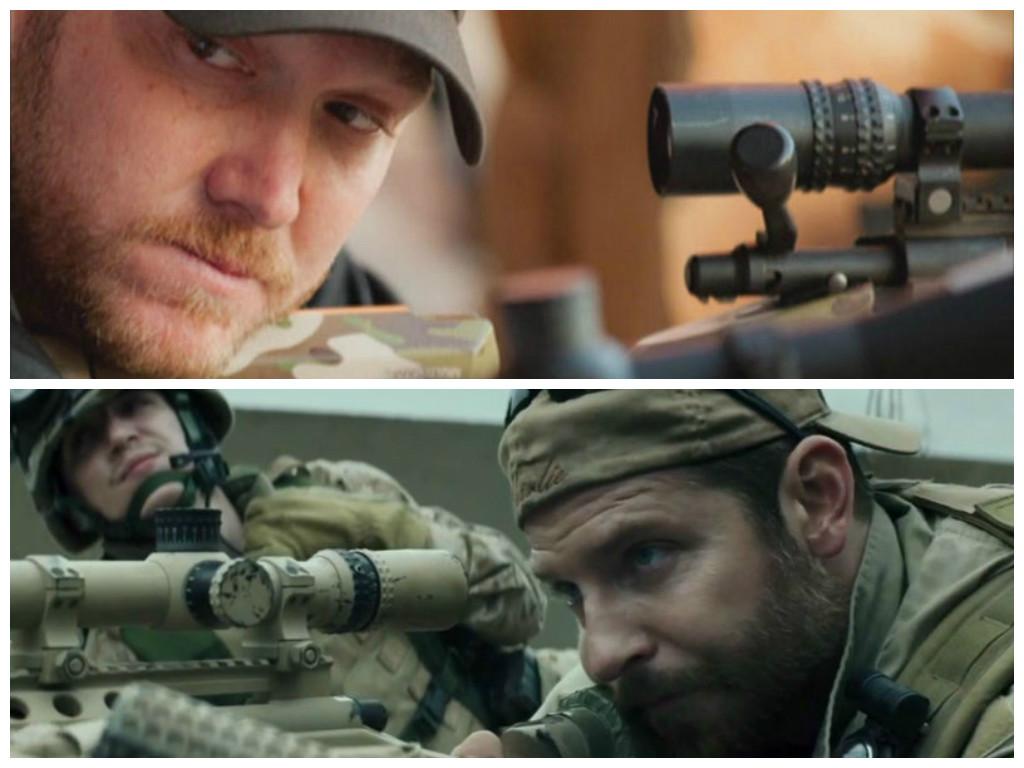 En haut, Chris Kyle, sniper de la Navy ; en bas, Bradley Cooper jouant son rôle